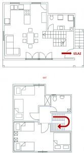 Kuća za odmor - raspored prostorija